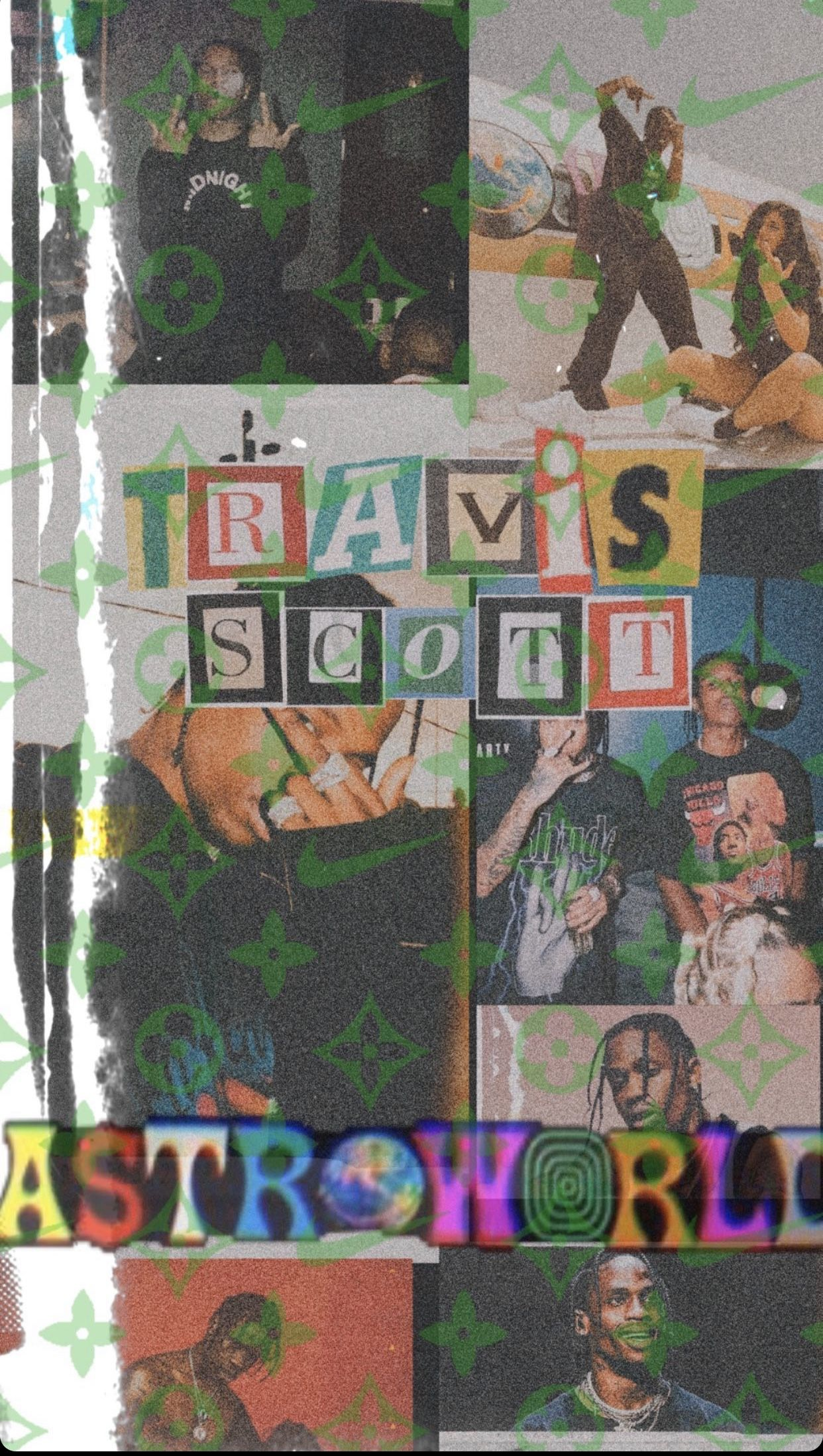Vsco Yxngkhalifaa Collage Artwork Hipster Wallpaper Travis Scott Iphone Wallpaper