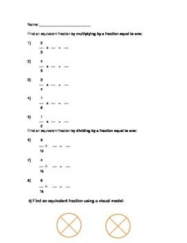 Worksheets to practice finding equivalent fractions by multiplying ...