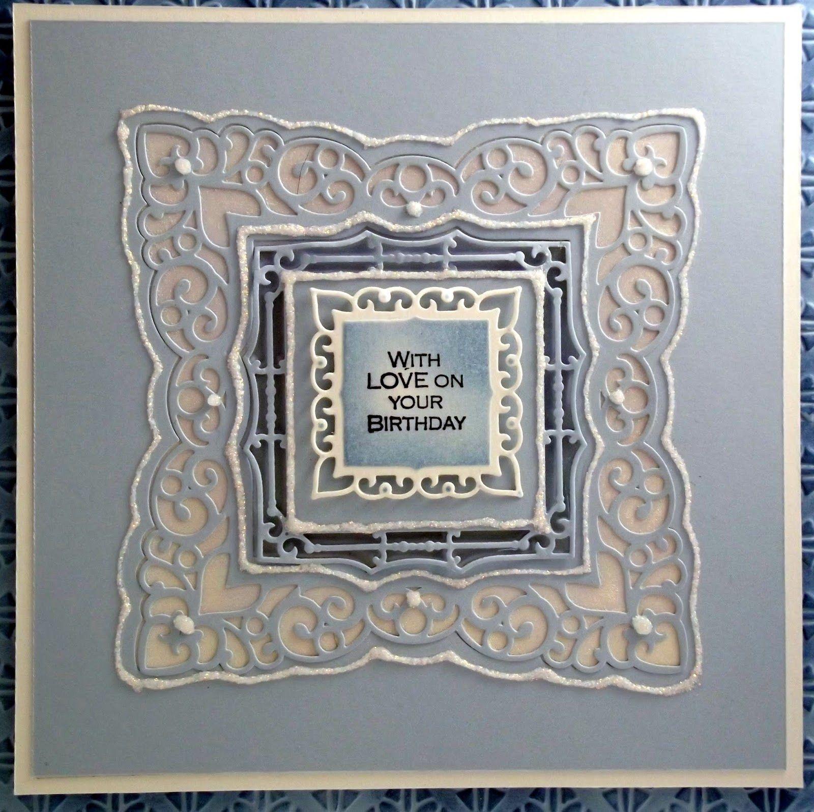 John Next Door Spellbinders labels 42, CE Clear stamps Fern frames elements stamp set, Cosmic Shimmer Aurora Twinkles and Garden Floral mica set, Sky Blue & coconut white foundation card.