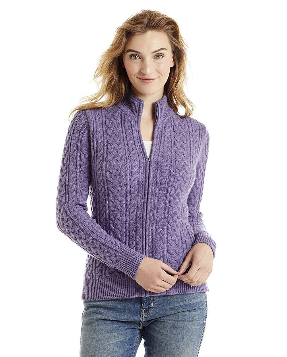 6f9a490d90 Invisible World Women s 100% Cashmere Cardigan Open Cable Knit Katy5.0 out  of 5