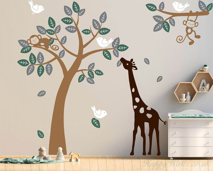 Monkey Giraffe And Birds Tree Set Wall Decal For Nursery