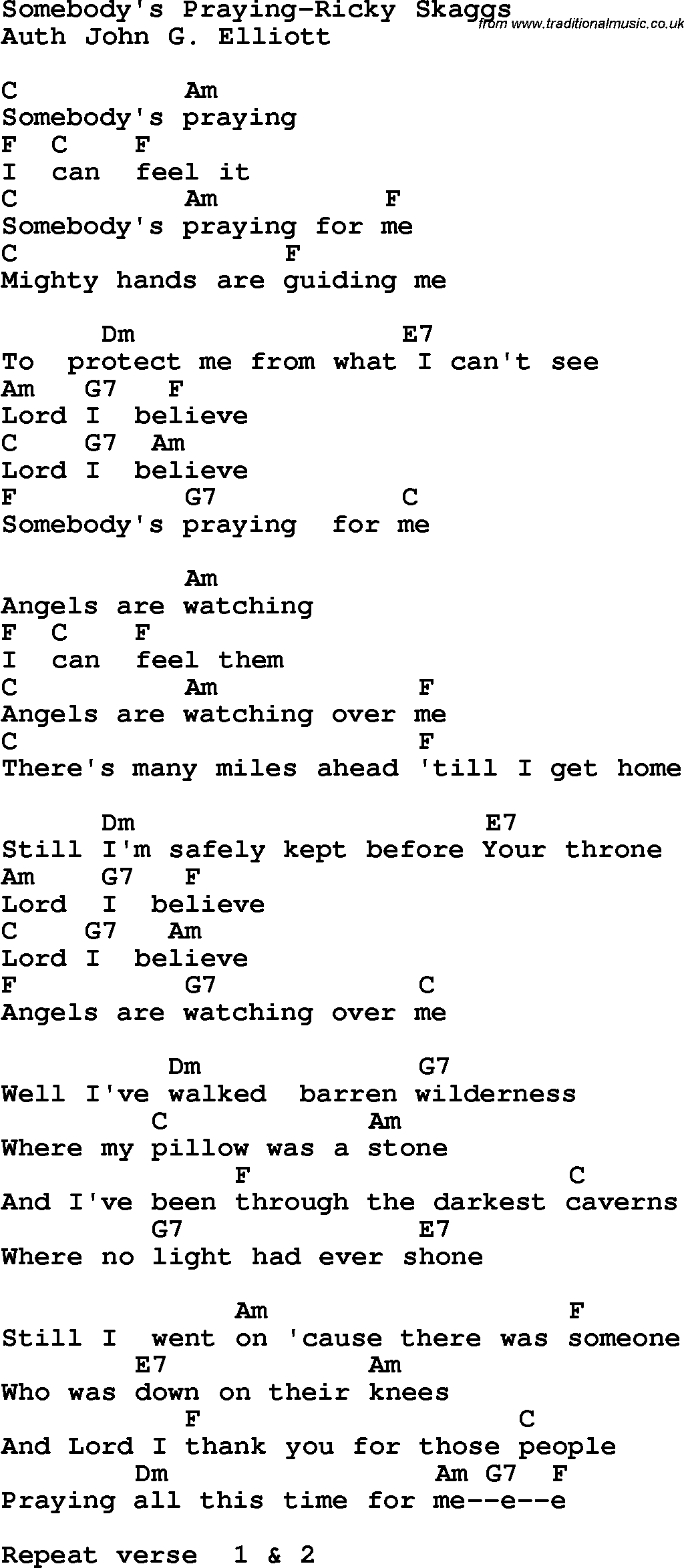 Country southern and bluegrass gospel song somebodys praying country southern and bluegrass gospel song somebodys praying ricky skaggs lyrics and chords hexwebz Choice Image