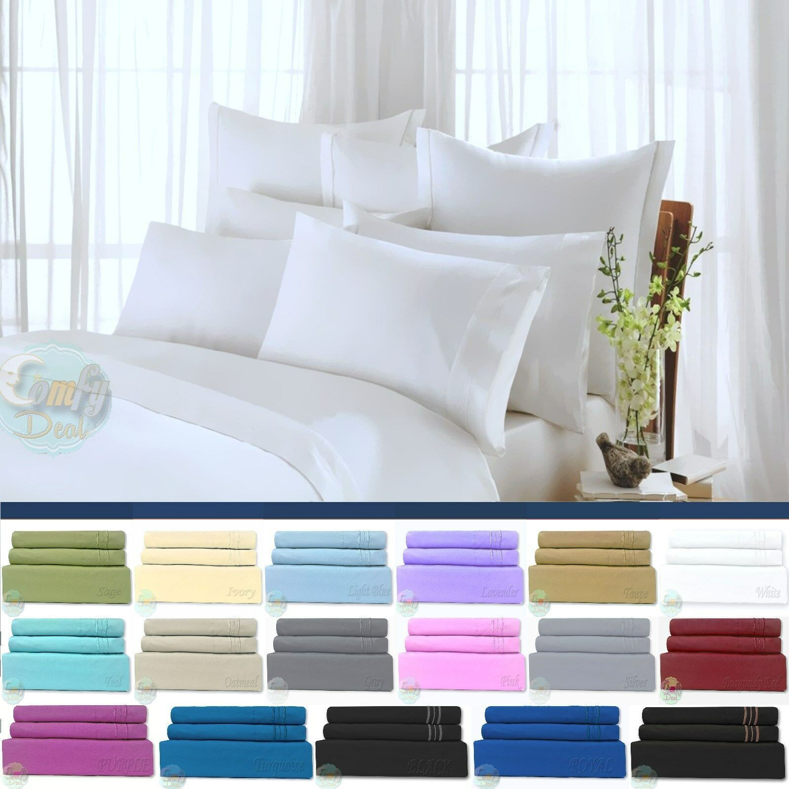 Egyptian comfort 1800 count ultimate 4 piece bed sheet set