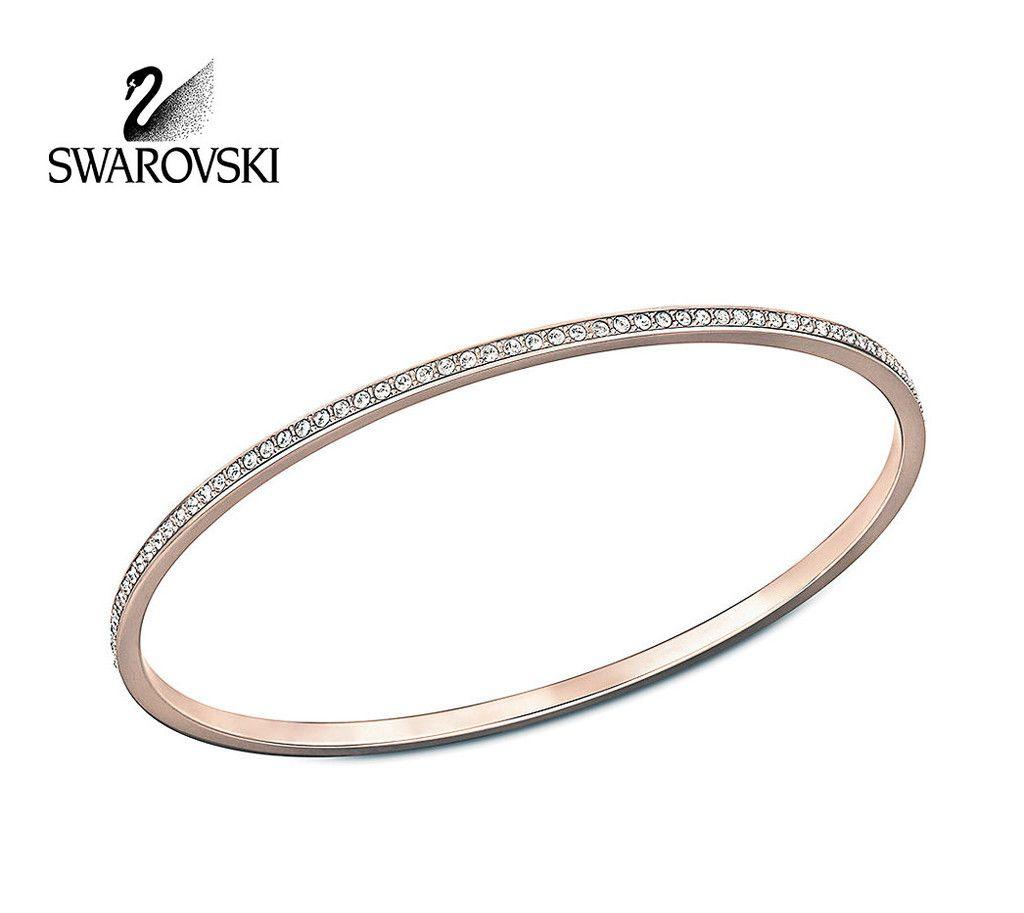 Swarovski clear crystal ready bangle bracelet rose gold medium