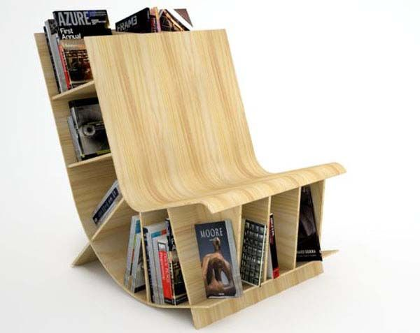 Dual Purpose Fabulousness Innovative Bookcase Chair Design From Fishbol