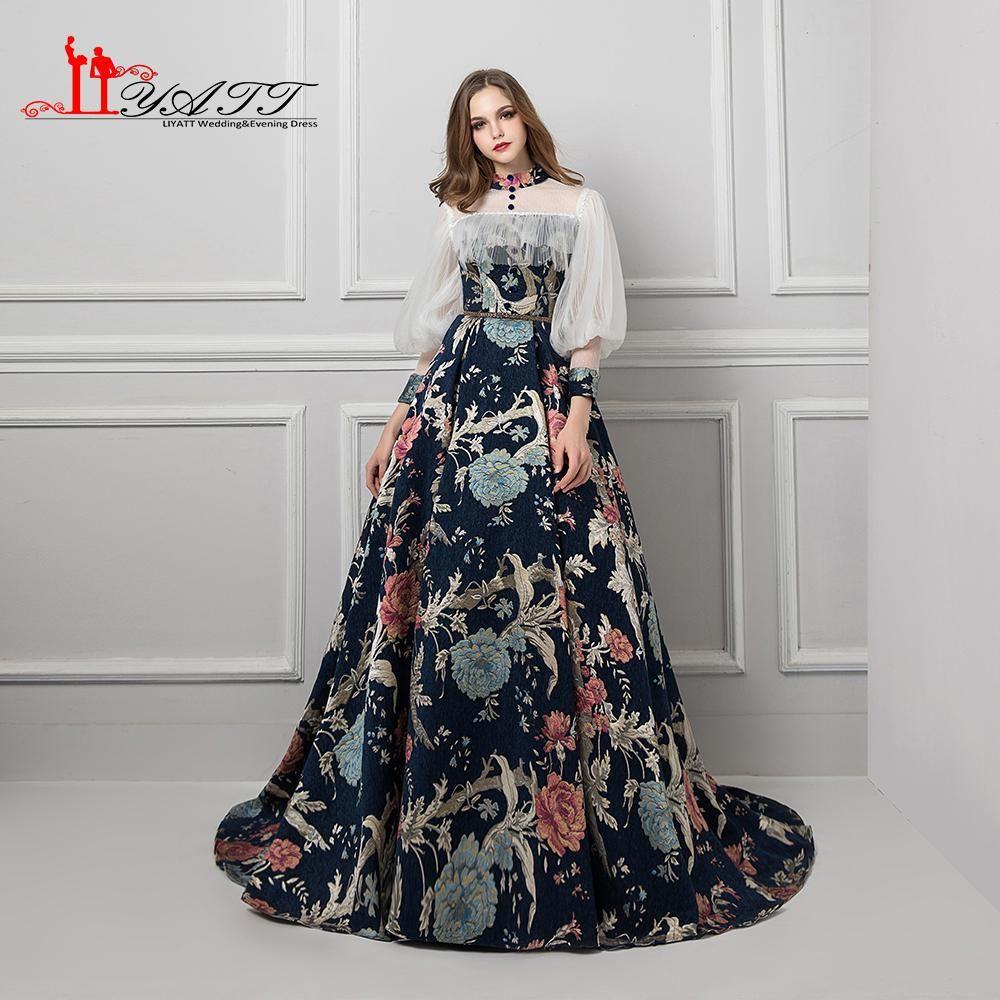 Liyatt gothic vintage princess arabic long sleeves high neck