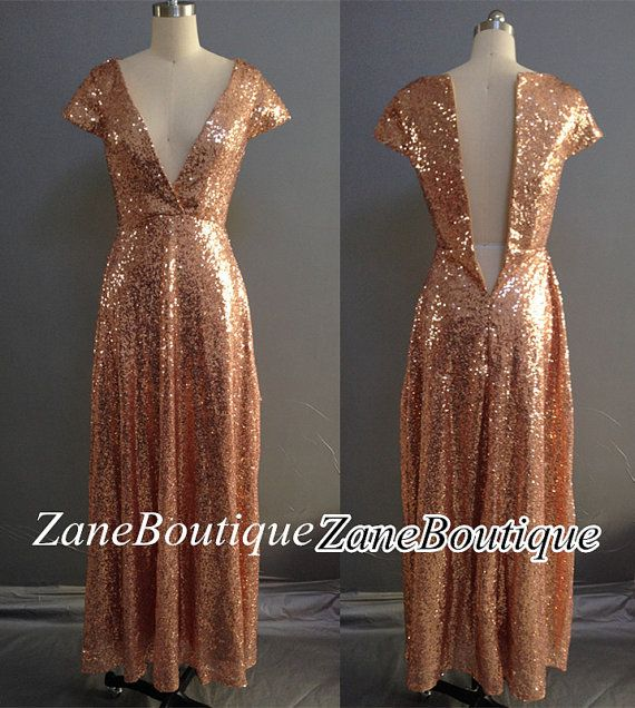 Rose gold sequins bridesmaid dress cap sleeves sequins for Long sleeve sequin wedding dress