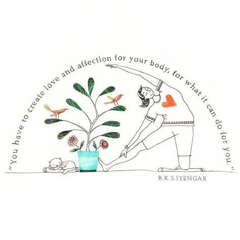 """ILLUSTRATION⭐️ART🌿yoga on Instagram: """"Love and affection for your body! . . . . . . #illustration #yoga #art #drawing #ink #curves #yogapants #cats #birds #quotes #quoteoftheday…"""""""