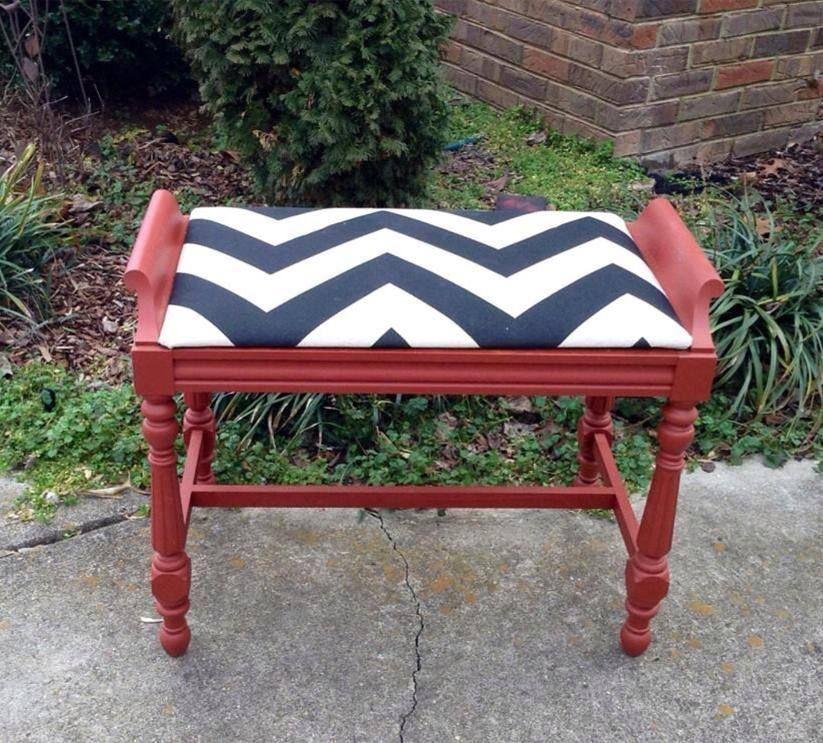 Pleasing Chevron Red Vanity Stool No 22 Studio Vanity Stool Ibusinesslaw Wood Chair Design Ideas Ibusinesslaworg
