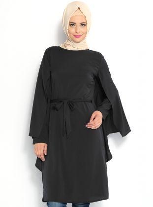 Pelerin Görünümlü Tunik - Siyah - Topless Pelerin Görünümlü Tunik Modelleri  http://www.tesetturone.com/urun-kategori/tunik/ #tesettur #hijab #giyim #moda #kadın #tesettürgiyim