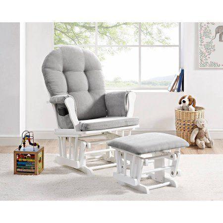 Angel Line Windsor Glider and Ottoman, White w/ Gray Cushion - Walmart.com