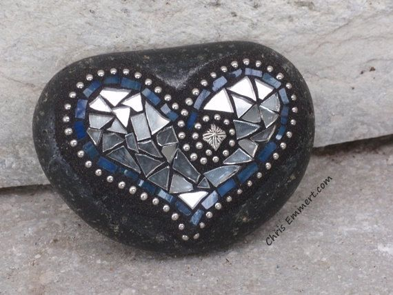 Silver, Blue  and Mirror Heart  - Mosaic Paperweight / Garden Stone. $23.00, via Etsy.
