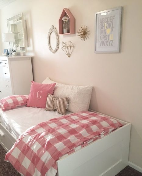 Gingham Pink Gold Twin Bedroom Little Girl Room Shared Room