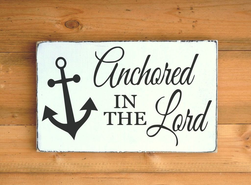 Beach decor wood sign anchored in the lord signs religious for Bible verse decor