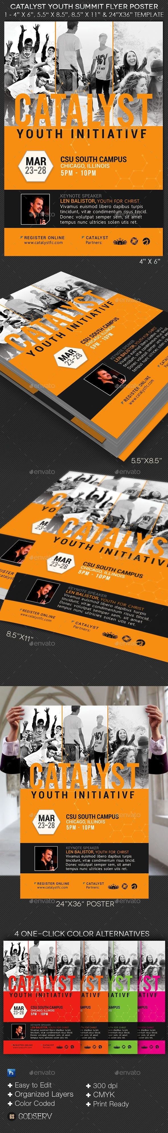 Catalyst Youth Summit Flyer Poster Template Ad Summit