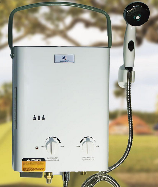 Enjoy A Hot Outdoor Shower Anywhere With A Portable Tankless Water Heater The Tankless Water Heater Camping Shower Water Heater
