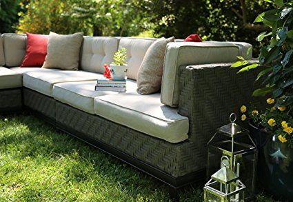 AE Outdoor 4-Piece Camilla All Weather Wicker Sectional with Sunbrella Fabric : Garden & Outdoor, $1,647.00
