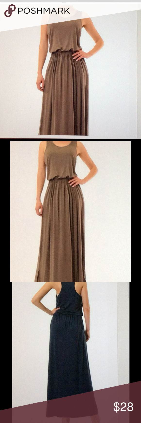 c617fc959a6d Just In- Racer Back Maxi Dress-Coffee Color This Cute Maxi Dress is great  for any occasion Has an elastic waste and is the Racer back style.