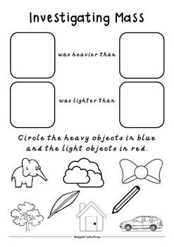 Mass Worksheet Teaching Inspiration Worksheets First Grade Science