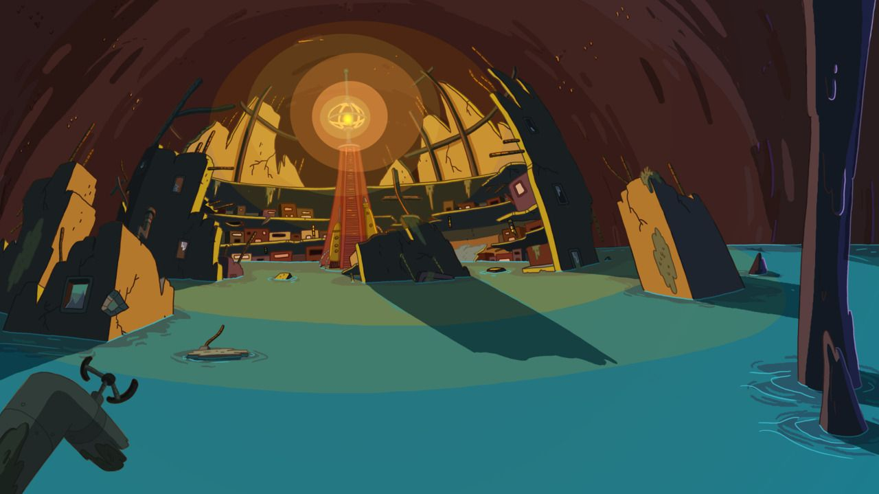 Adventure Time background art, the underground city of Beautopia where Susan Strong fights the Lub Glubs.