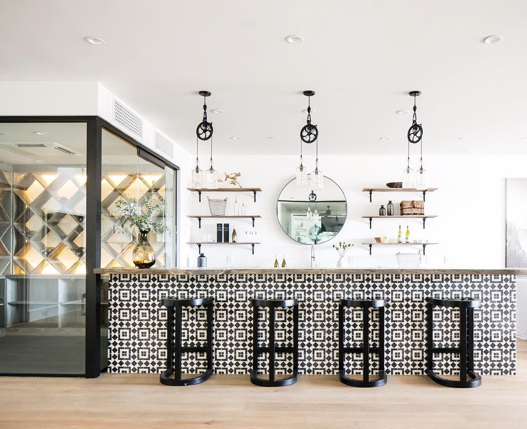 Industrial mixed with boho this wine room bar give us all the ...