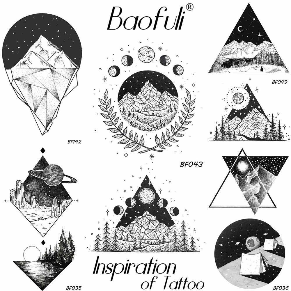 df48d0990129 Мужской геометрический круглый треугольник временная татуировка ...