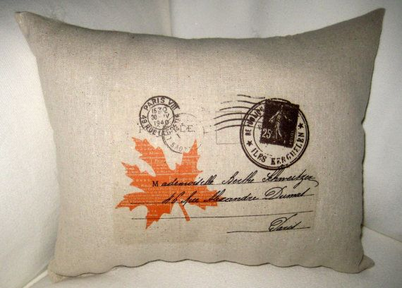 Antique Postcards Shabby Chic Leaf Lumbar Pillow, Harvest