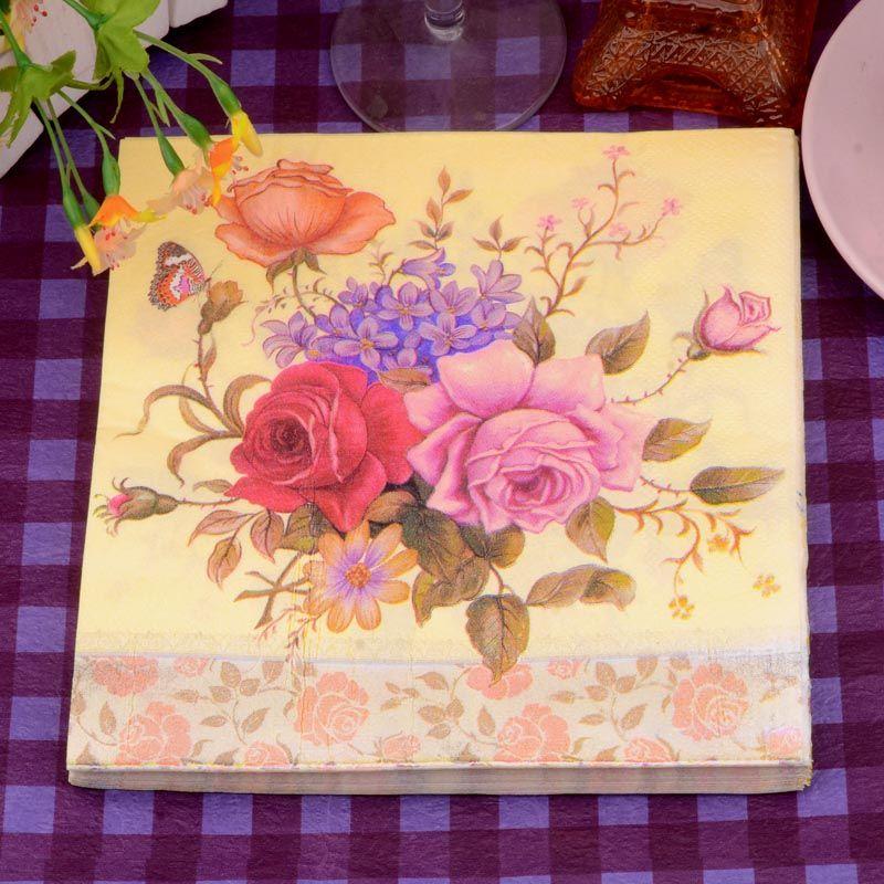 3333cm 20 pcspack elegant vintage flowers paper napkin party 100 virgin