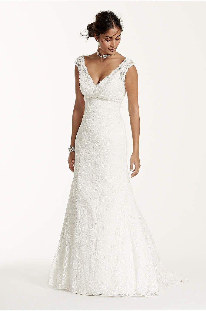 Lace Sheath Wedding Dress with Illusion Cap Sleeve - Davids Bridal ...