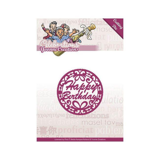 Stanzschablonen  Happy Birthday  von Yvonne Creations,  Celebrations YCD10050