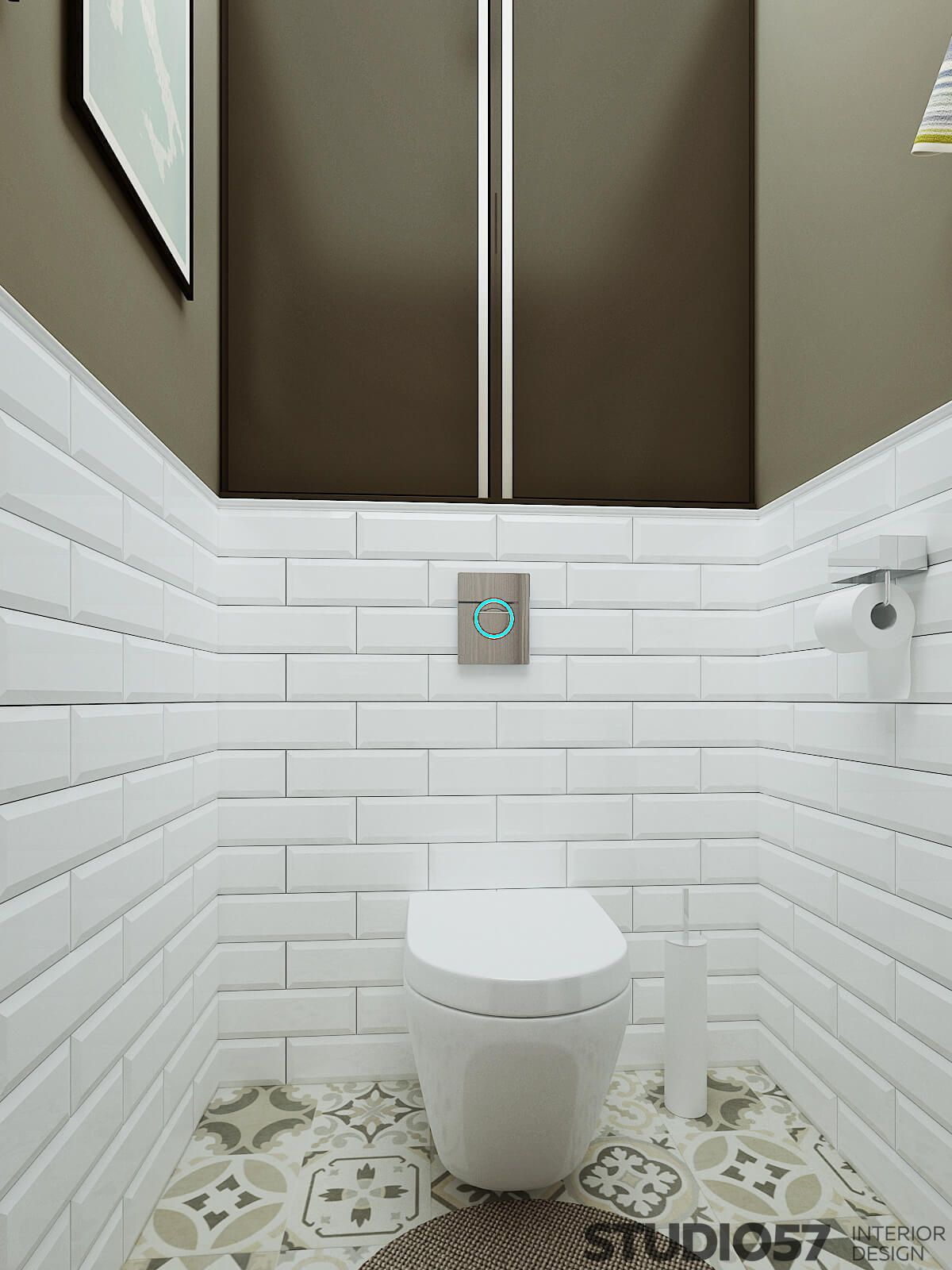 In The Design Of The Toilet Is Used Mainly White Color Accents