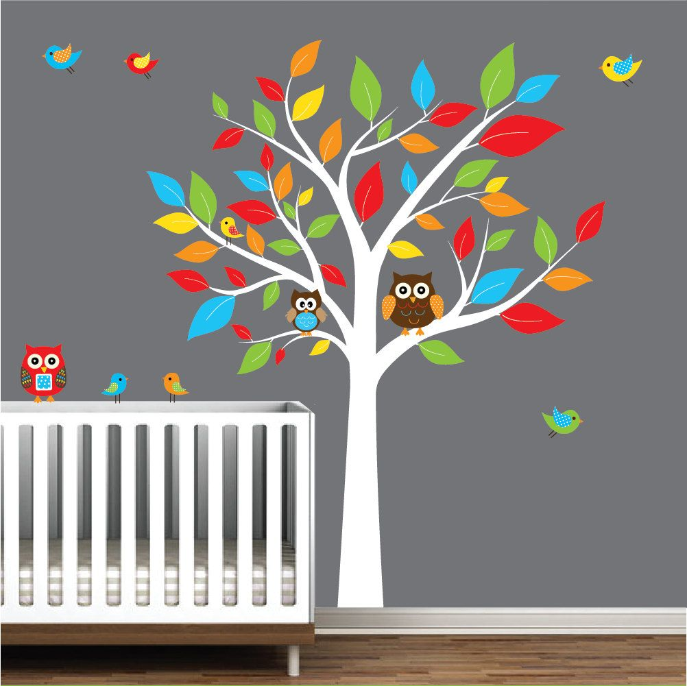 Children nursery wall decal stickers owl and birds tree nursery children nursery wall decal stickers owl and birds tree nursery baby decals 9900 via amipublicfo Image collections