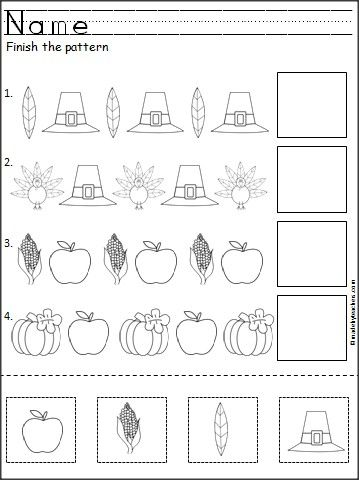 Free Thanksgiving Patterns Cut and Paste | Kindergarten worksheets ...