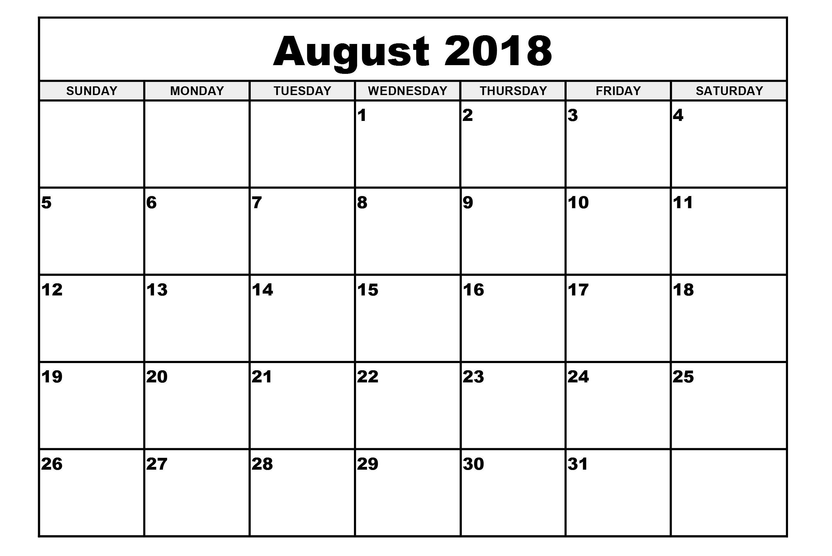 August Calendar Printable Simple Blank Template