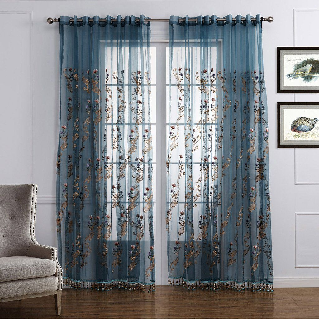 Two Panels Curtain Neoclassical Bedroom Polyester Material Sheer Curtains  Shades Home Decoration For Window   GBP