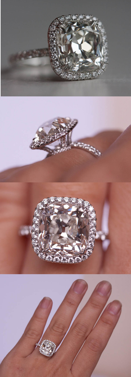 Thouarellas  Year Anniversary Ring Features A   Carat Antique Style Cushion Cut Diamond Of J