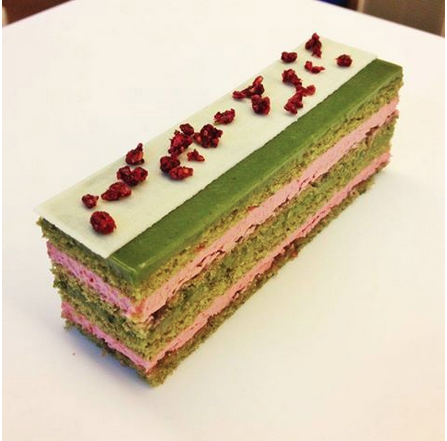 """""""Green Tea Raspberry Opera"""" by Guest Chef Matthew KL Leung at the Sinmeo cafe in Hong Kong - wish we had the recipe to share with you! - think Matcha"""