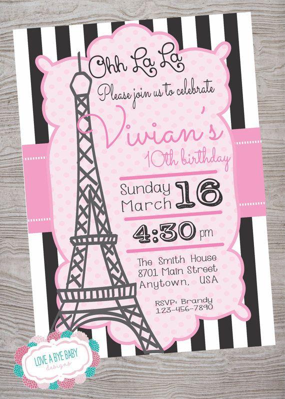 paris theme birthday party invitation printable avery birthday