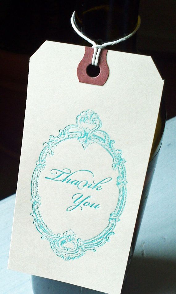 Thank You Note Tags  Vintage Letterpress on Manila by ideachic, $6.00