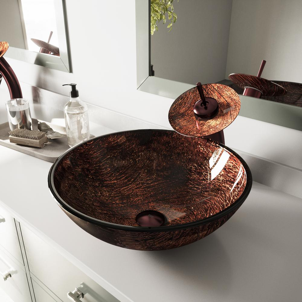 Kenyan Handmade Countertop Glass Round Vessel Bathroom Sink In
