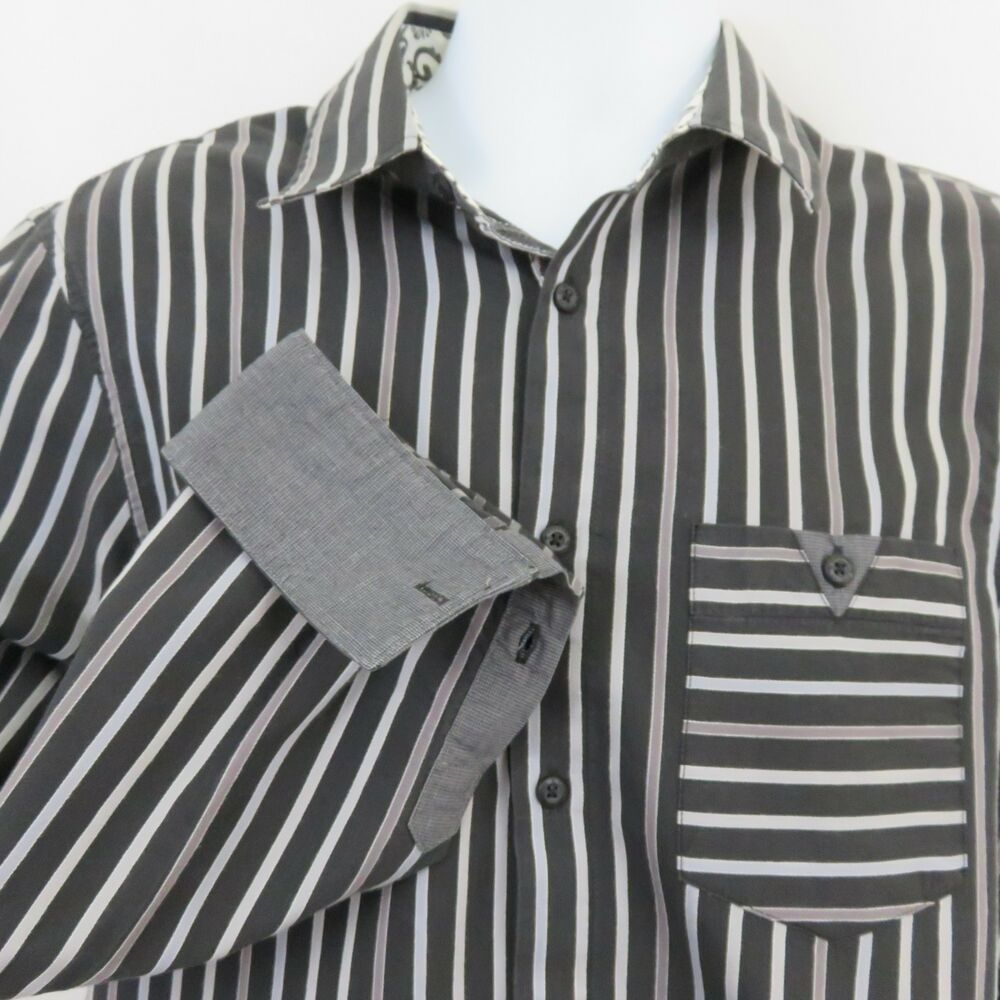 English Laundry Black Gray Stripe Mens L Shirt Blaque Label Christopher Wicks Englishlaundry Buttonfront Red
