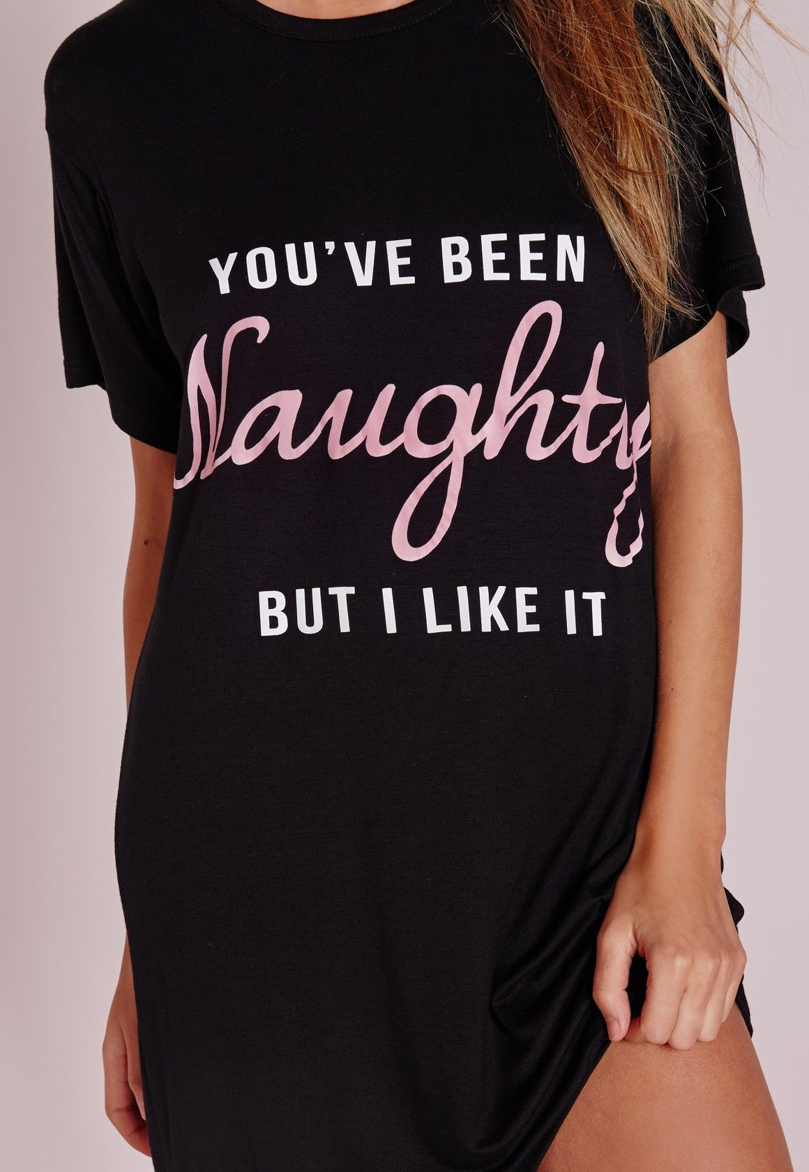 Missguided - Naughty Slogan Night Dress Black