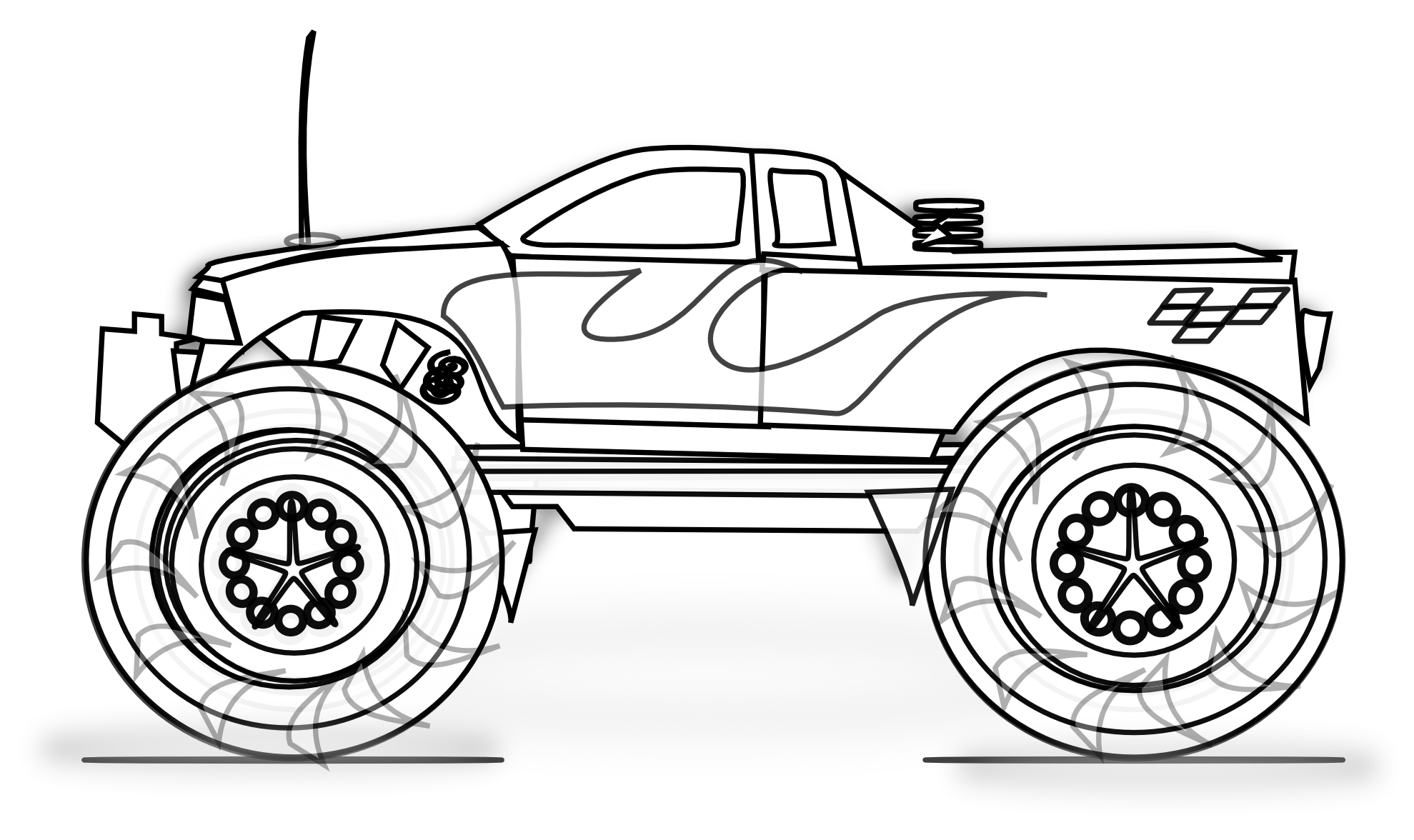 Coloring Impressive Monster Truck Coloring Pages With Jam Colori