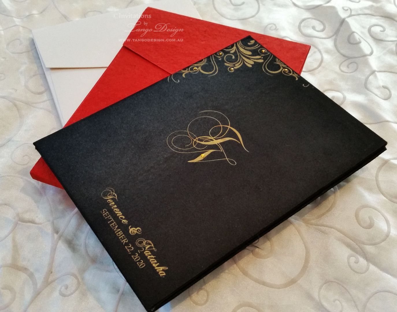 moroccan scroll wedding invitations%0A red  black and gold wedding invitations  hardcover to last for along time