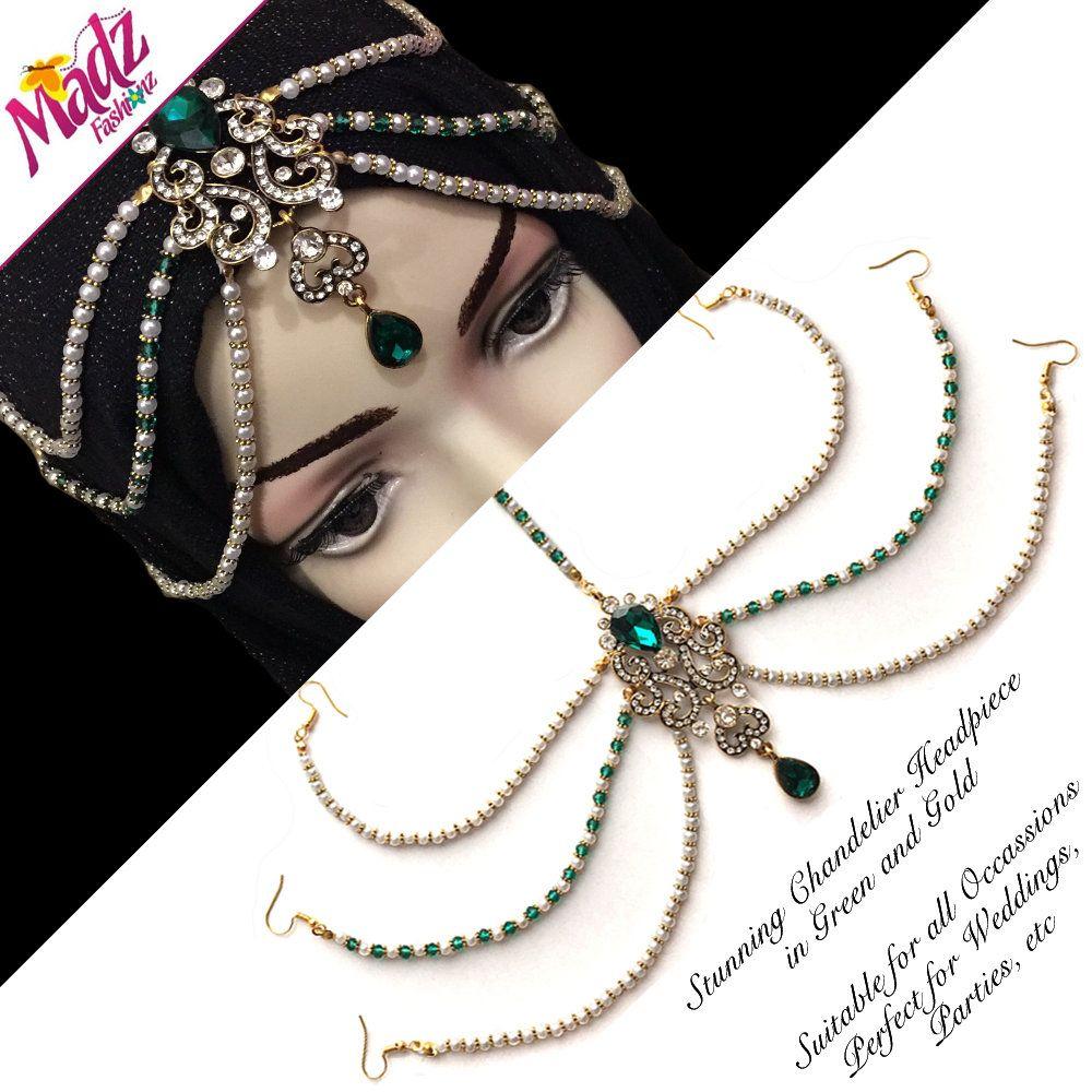 Emerald head wear , hair jewelry , gold headpiece , arabic ...