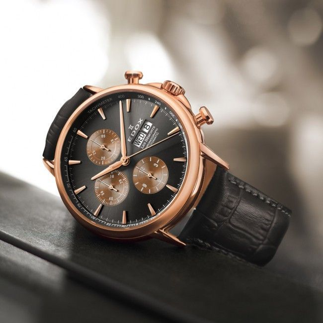Edox 01120 37R GIR Men s Watch LES BÉMONTS Chronograph Automatic Rose Gold  PVD Case b8ce9d820a