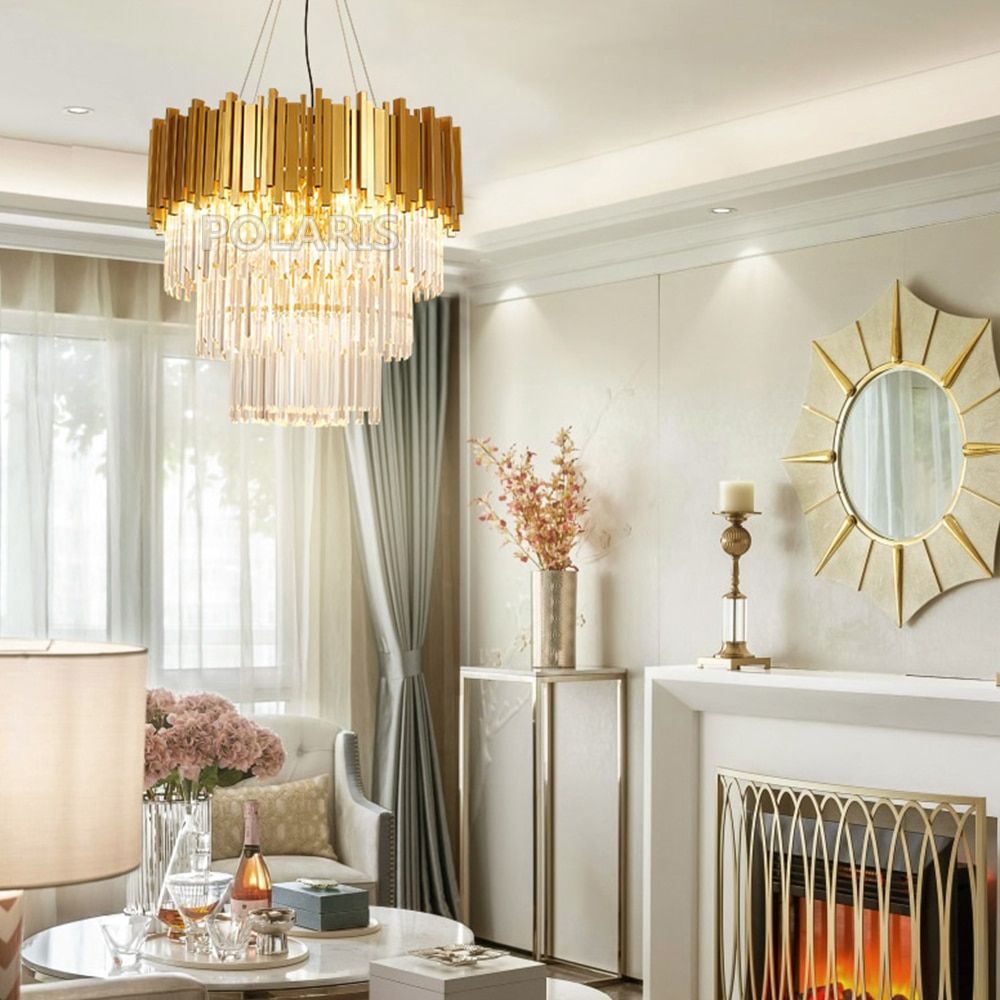 Modern Led Crystal Chandelier Lighting Luxury Contemporary Chandeliers Golden Pendant Hanging Light For Living Dining Room Decor Buy At The Price Of 458 90 I Contemporary Chandelier Dining Room Decor Crystal Chandelier Lighting