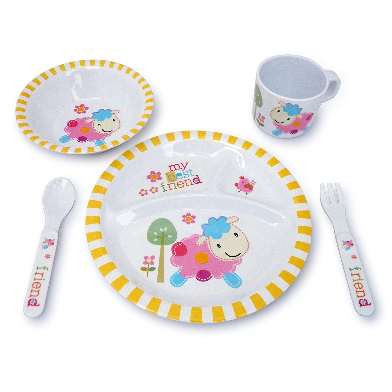 Culina 5 Piece Kids Melamine Lamb Dinnerware Set Wayfair Kids Melamine Kids Plates Disney Plates