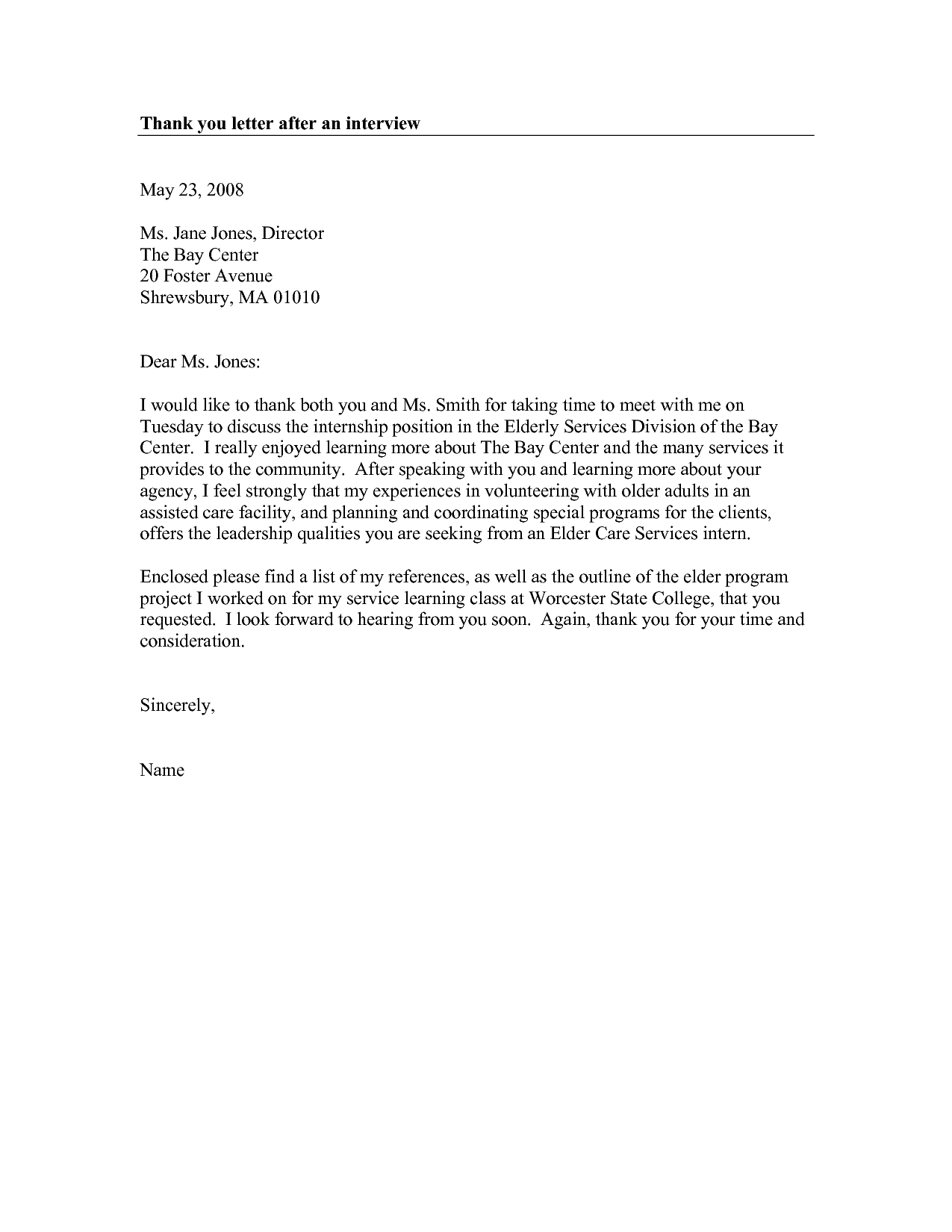 Thank You Letter After Interview Formal Sample Picture  Home