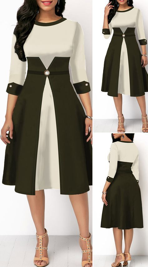 High Waist Color Block Three Quarter Sleeve Dress